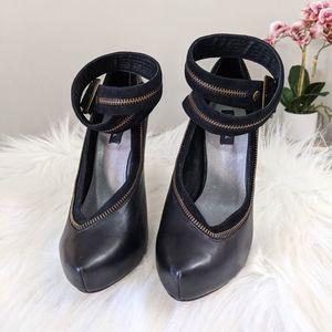 Indus+ry zipper ankle strap heels